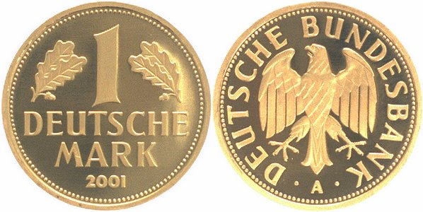 zum Abschied der D-mark Brd 1 Mark Gold 2001 A