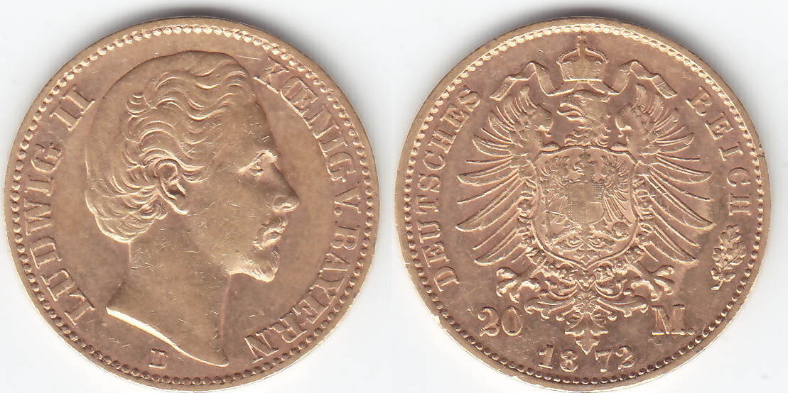 Ludwig Ii 1864-1886 Bayern 20 Mark Gold 1872 D