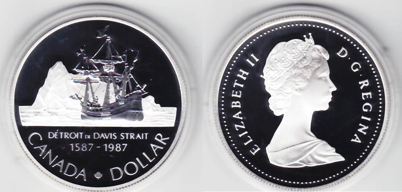 400 Jahrestag Nordpolarexepedition J Davis Kanada 1 Dollar 1987
