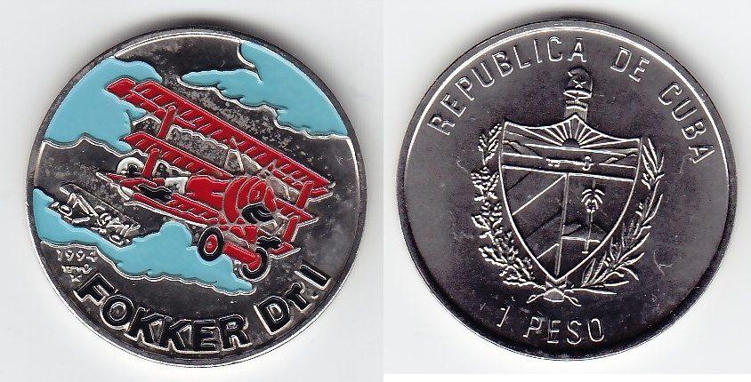 Fokker Dr I Kuba 1 Peso Farbmünze 1994