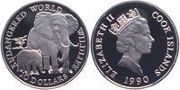 10 Dollars Silber 1990 Cook Islands Elefanten PP Proof  10,00 EUR  zzgl. 4,00 EUR Versand