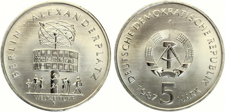 5 Mark Weltzeituhr Alexanderplatz 1987