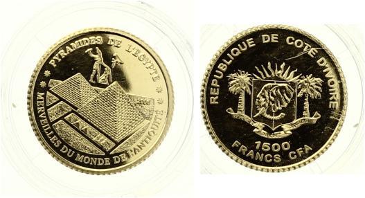 Elfenbeinküste 1500 Francs Pyramiden von Gizeh 2006 Gold