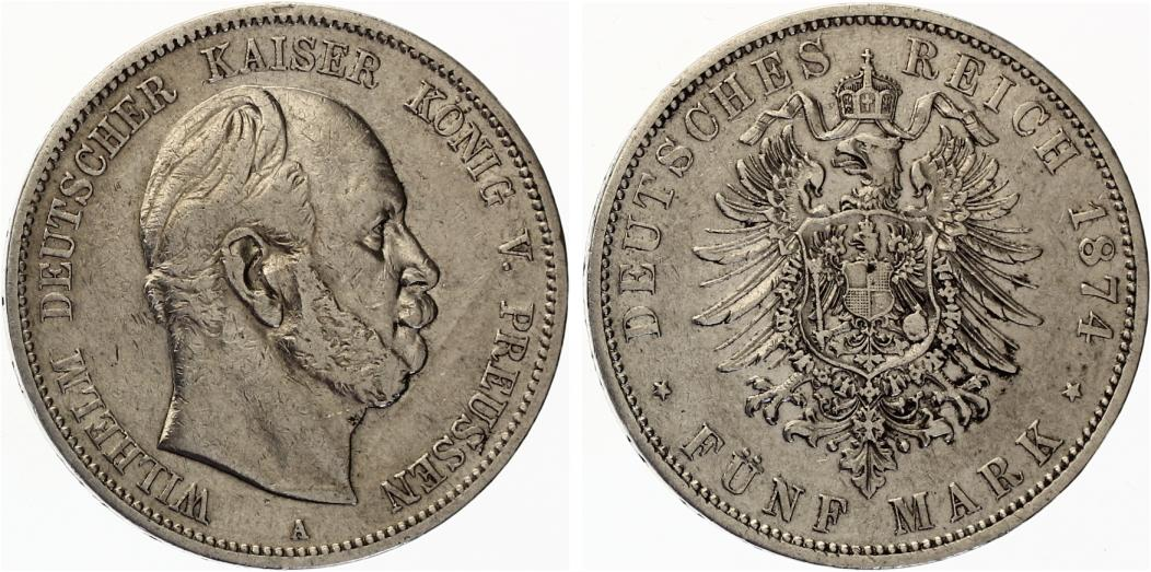 5 Mark Preussen Wilhelm I 1874 A
