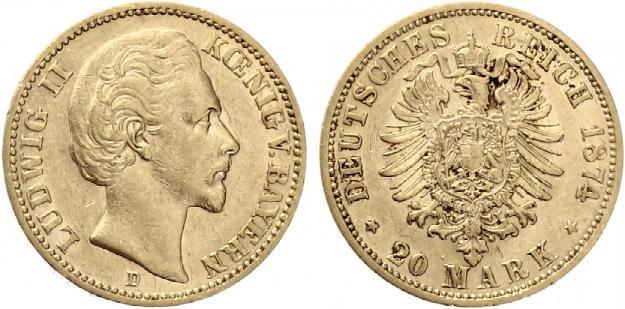 20 Mark Bayern 1874 Ludwig Ii