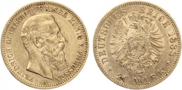 20 Mark Preussen 1888 Friedrich Iii 99 Tage Kaiser