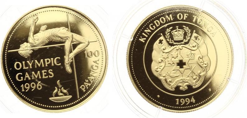 100 Pa'anga Goldmünze Tonga 1994 Olympia 1996 Atlanta Hochsprung