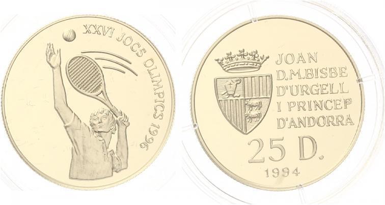 25 Diners Andorra 1994 Olympia 1996 Atlanta Tennis Goldmünze