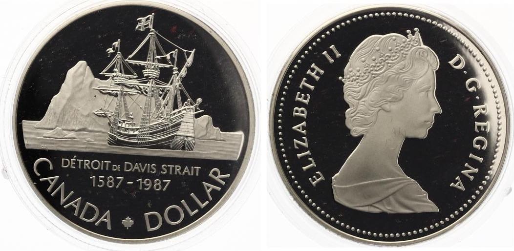Kanada 1 Dollar 1987 Silber Pp John Davis Expedition