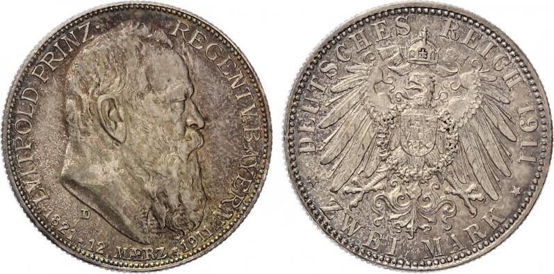 2 Mark Bayern Luitpold 90 Geburstag 1911