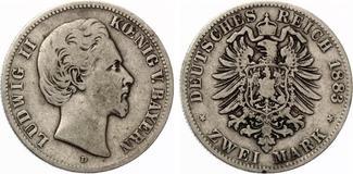 1883  2 Mark Bayern Ludwig II ss/s   selten