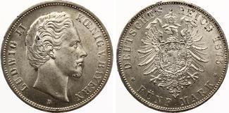 1875  5 Mark Bayern 1875 Ludwig II fast S...