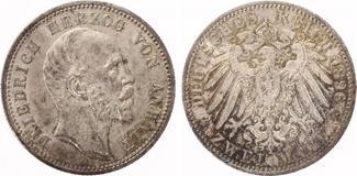 1896  2 Mark Anhalt Friedrich I 25 jährig...