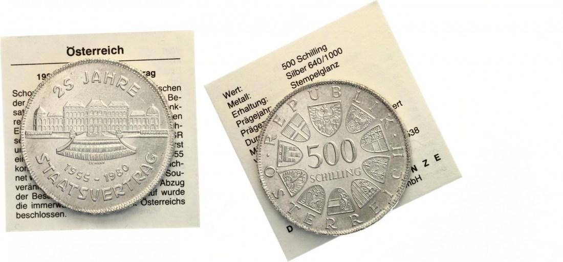 500 Schilling 25 Jahre Staatsvertrag 1980