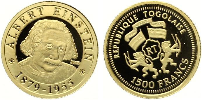 1500 Francs Togo 2005 Einstein Gold