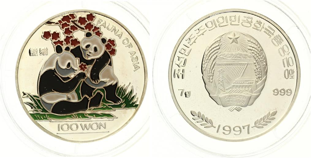 100 Won Nordkorea Panda 1997 pp farbig