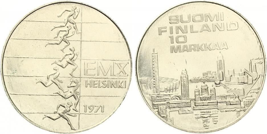 Finnland 10 Markkaa 1971 Silber