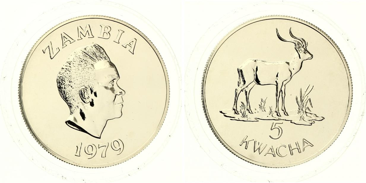 Sambia Wasserbock 5 Kwacha 1979 27g FEIN FDC