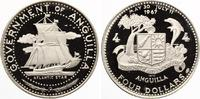 "Anguilla 4 Dollars Silber 1970 ""Segelschiff Atlantic Star"""