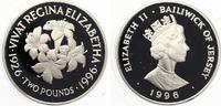 1996  JERSEY 2 Pfund 1996 n Queen Elizabeth's 70th Birthday Lilies pp  25,00 EUR  zzgl. 1,70 EUR Versand