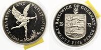 1972  Guernsey 25 Pence 1977 pp einzelne haarfeine Kratzerchen  20,00 EUR  zzgl. 1,70 EUR Versand
