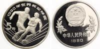 1990  China 5 Yuan 1990 Fussball WM 1990 pp  30,00 EUR  zzgl. 4,00 EUR Versand