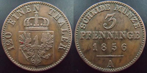 Brandenburg, Friedrich Wilhelm Iv, 3 pfennig 1856 A, J 52 Ttb Allemag