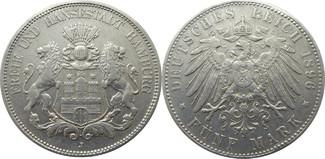 5 Mark 1896 J Deutschland Hamburg J65 5 Ma...