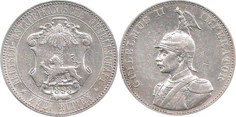 J714 2 Rupien Deutsch-ostafrika 1893