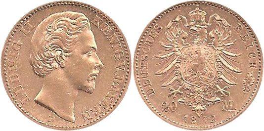 J194 20 Mark Gold Ludwig Ii quot;dquot; Deutschland Bayern 1872 D