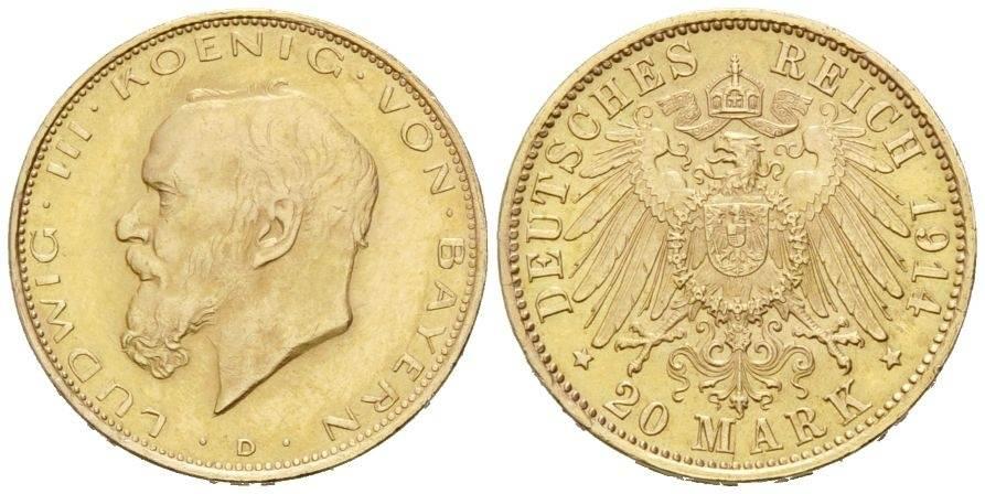 Ludwig Iii , 1913-1918, Bayern, 20 Mark 1914 D, Gold