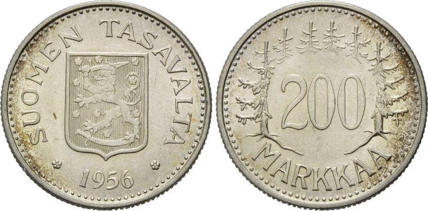 Republik, seit 1917, Finnland, 200 Markkaa 1956 Silber