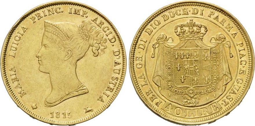 Maria Luigia 1815-1847, Italien, Parma, 40 Lire Gold