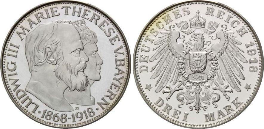 Goldene Hochzeit, Bayern, 3 Mark 1918 (np 2001) Silber