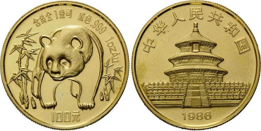 Panda 1oz, China, 100 Yuan 1986 Gold