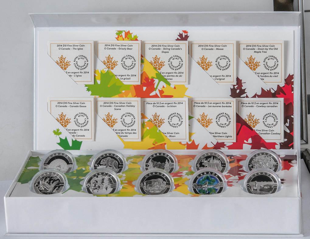 O Canada Satz, Kanada, 10x 10 Dollars 2014 Silber