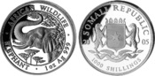 1000 Shillings 2005, Somalia, African Wild...