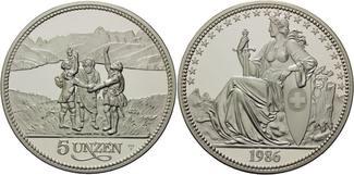 5 Unzen 1986 Schweiz, Rütlischwur - 5oz, PP