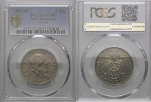 2 Mark 1901, Sachsen-Meiningen, Georg II.,...