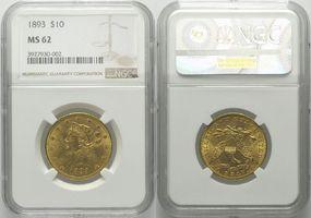 10 Dollars 1893, USA, Liberty Head, NGC MS-62