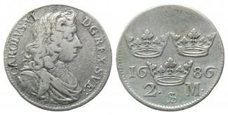 2 Mark 1686 Schweden, Karl XI., 1660-1697, ss