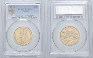 Kanada, 10 Dollars 1914 PCGS MS62+ George ...