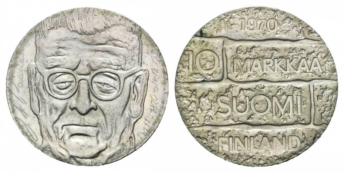 100 Geburtstag von J Paasikivi, Finnland, 10 Markkaa 1970 Silber