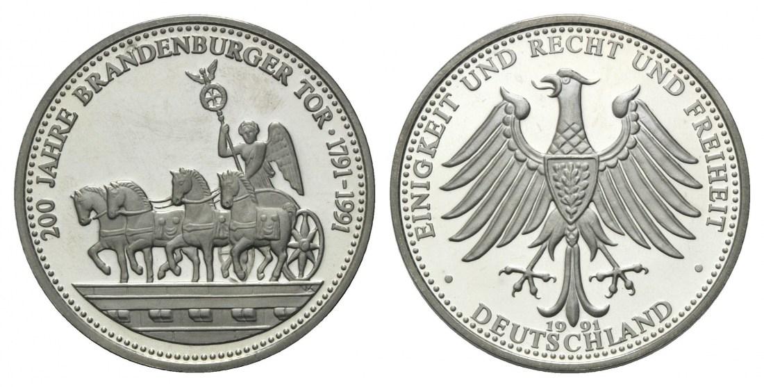 200 Jahre Brandenburger Tor, Deutschland, Neusilber-medaille 1991 Kup