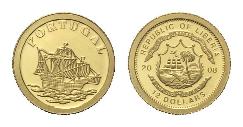 Portugal, Kleinste Goldmünze, Liberia, 12 Dollars 2008,