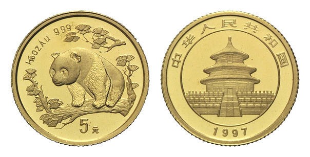 China, Panda, 5 Yuan 1997, 1/20 oz, st