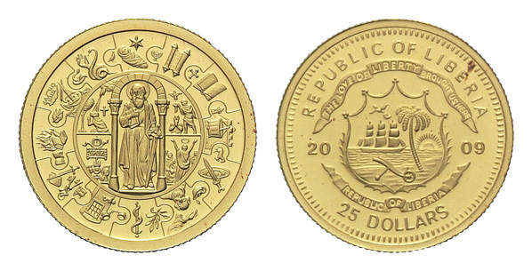 Apostelmünze Paulus, 1/25oz Liberia, 25 Dollars 2009 Gold