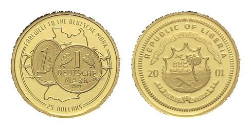 Abschied von der Deutschen Mark, Liberia, 25 Dollars 2001, Gold