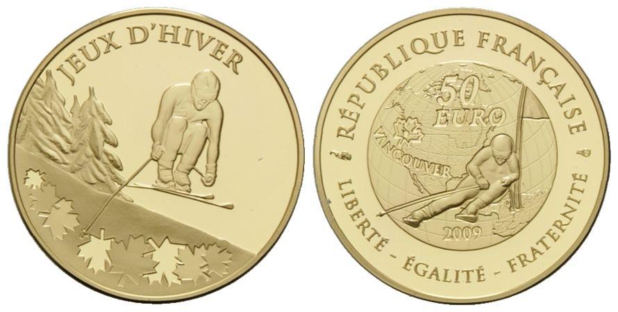 Frankreich, Olympische Spiele in Vancouver 2010 - Slalom, 50 Euro 2009, mit Etui und Zertifikat; PP