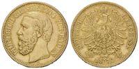 10 Mark 1872 G Baden, Friedrich I., 1852-1907, vz+  545,00 EUR